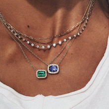 OLOEY Charms Multi-Layer Necklace Women Party Jewelry Accessories New Womens Crystals Alloy Street Pendants Necklaces Ladies