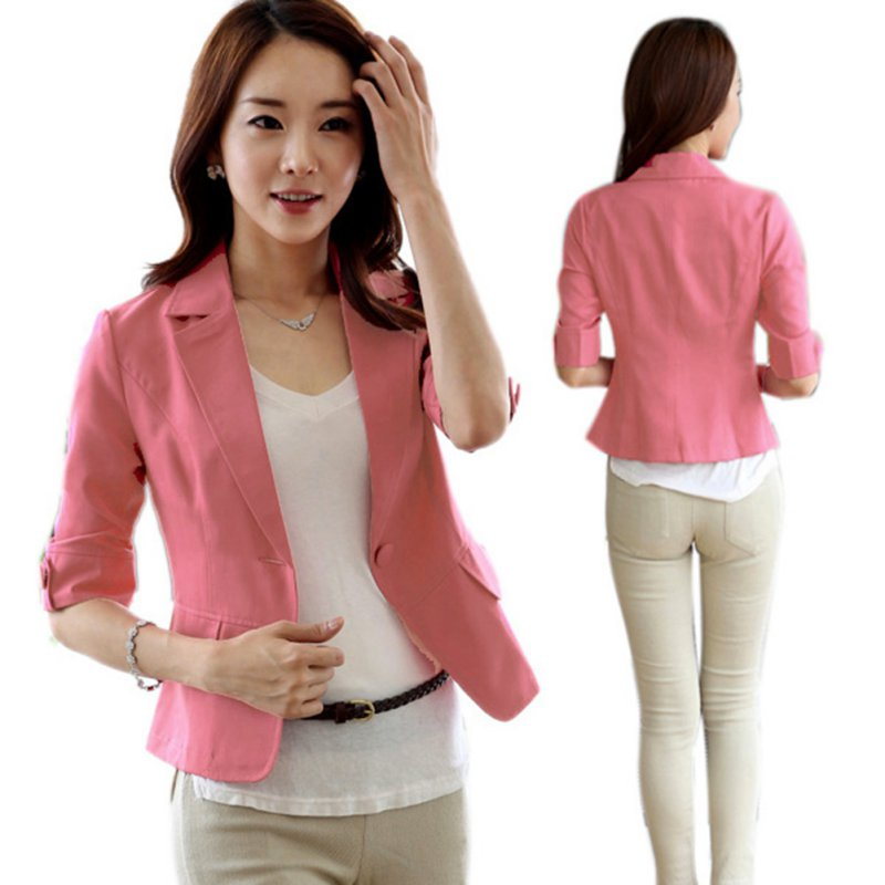 2020 Single Breasted Women Blazer Mujer Solid Office Lady Casual Jacket 3/4 Sleeve Women Blazers and Jackets Outwear Clothes