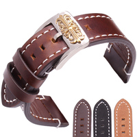 Cowhide Watch Band 20mm 22mm Retro Genuine Leather Replacement Watchbands Black Dark Brown Strap With Polished