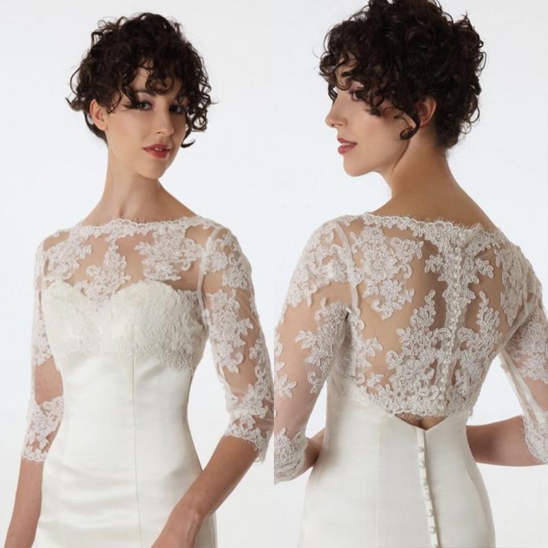 White Wedding Dress Jacket: New Fashion Bride Long Sleeve Lace Jacket White/Ivory