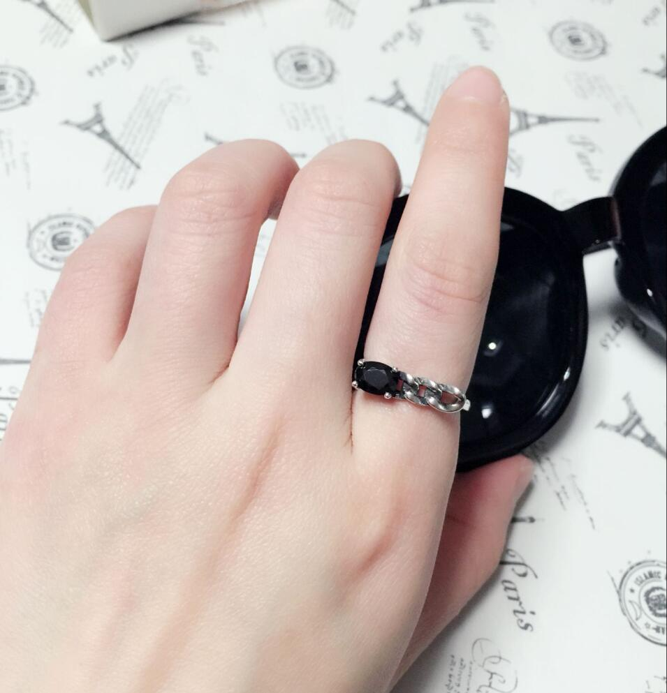 Unique personality black onyx ring opening asymmetrical twist,925 ...