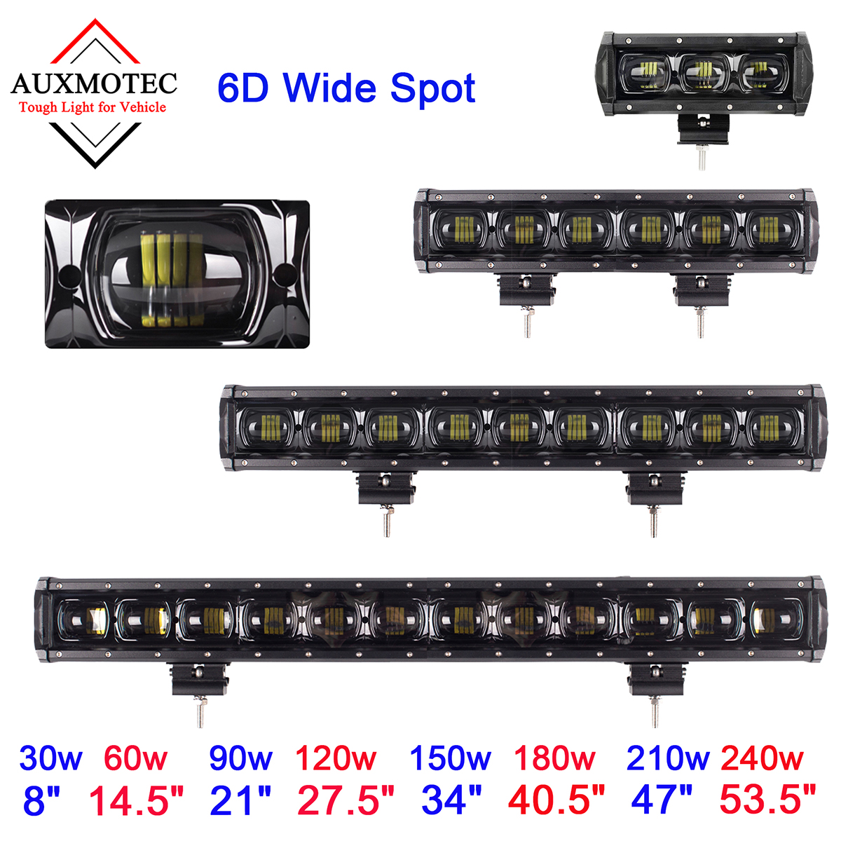 Led Light Bar 6d lens 30w 60w 90w 120w 150w 180w 210w 240w grille single row front bumber car roof lightbar 8 14.5 21 27.5 34 40.5 47 53.5 inch truck atv suv offroad off-road 4x4 4wd pickup 12v 24v (1)