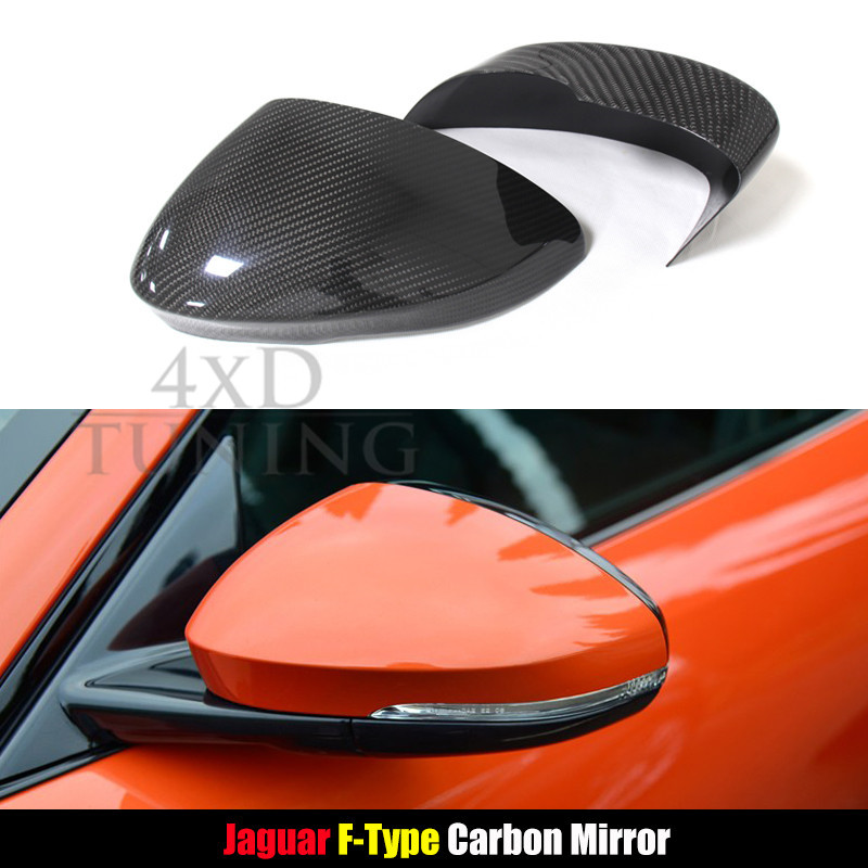 ФОТО For Jaguar F-Type Carbon Fiber Rear View Mirror Cover Side Mirroor 2010 2011 2012 2013 2014 Add on Style Glassy Black Finish