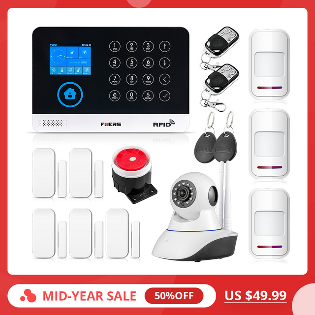 2019 New FUERS WG11 WIFI GSM Wireless Home Security Alarm System APP Control Siren RFID PIR Motion Detector Smoke Sensor DIY Kit