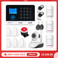 2019 neue FUERS WG11 WIFI GSM Wireless Home Security Alarm System APP Steuer Sirene RFID PIR Motion Detektor Rauch Sensor DIY Kit