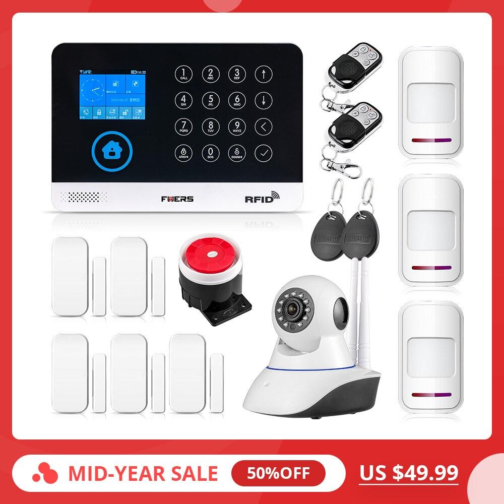 2019 nowy FUERS WG11 WIFI bezprzewodowy GSM system alarmowy do domu APP sterowania syrena RFID PIR wykrywacz ruchu czujnik dymu zestaw do samodzielnego montażu