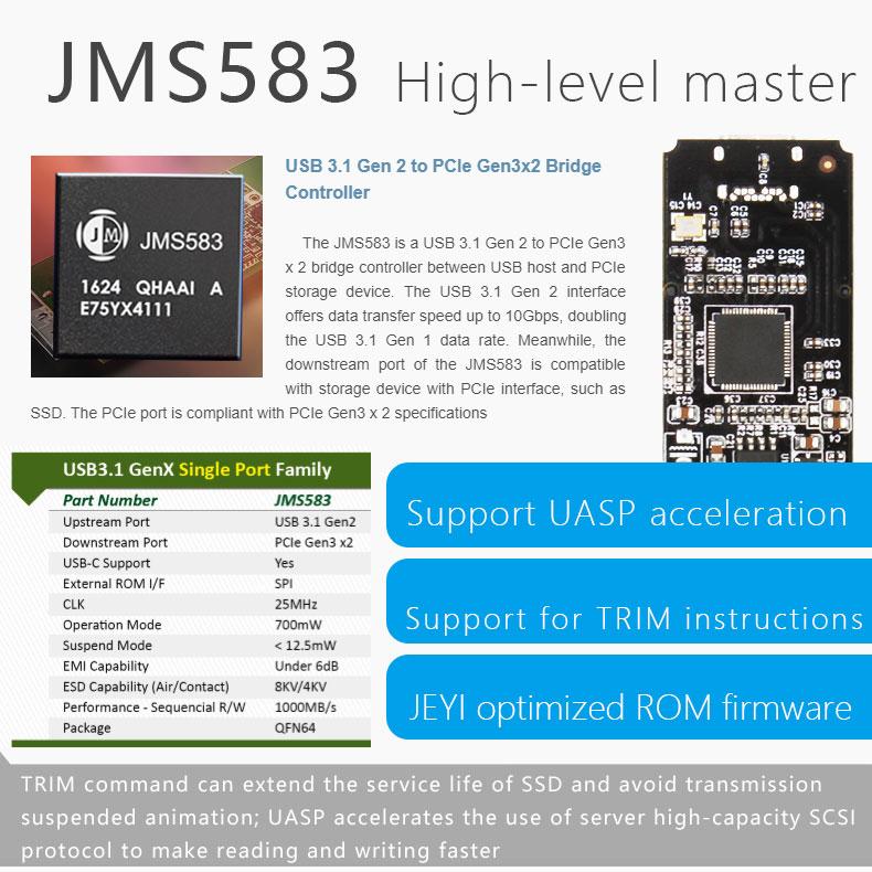 JEYI ICESHARK i9 Hidden Line HDD Enclosure mobile hdd box case NVME TYPE  C3 1 JMS583 m  2 USB3 1 M 2 PCIESSD U 2 M 2 PCI-E