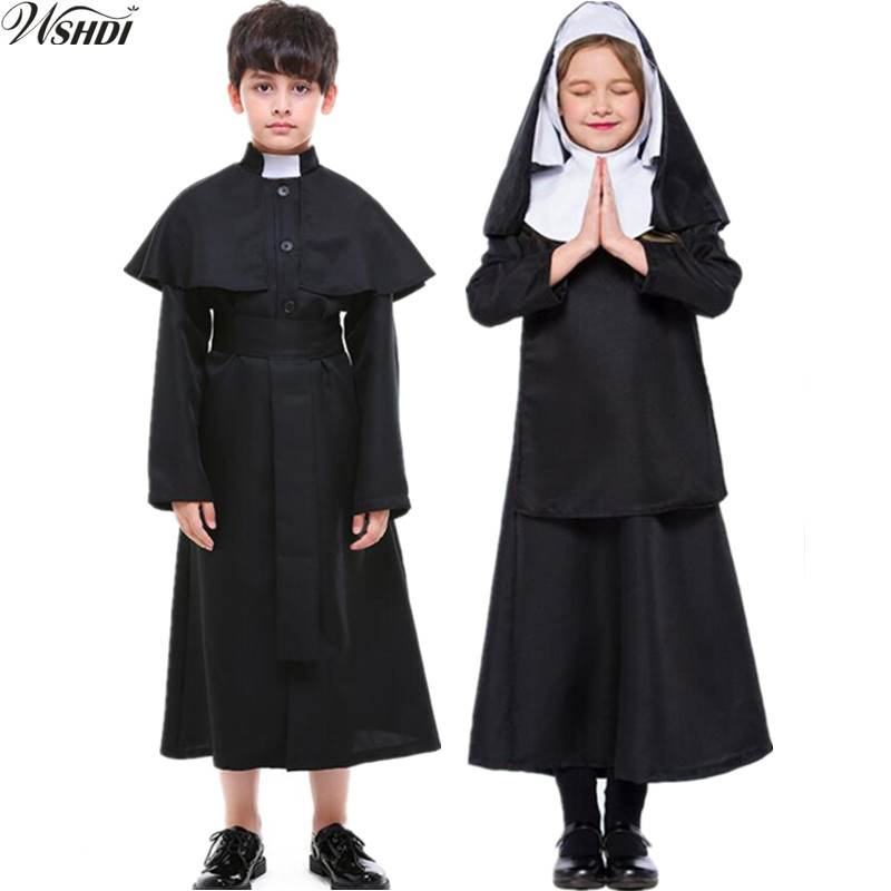 S-XL New Maria Priest Halloween Masquerade Cosplay Jesus Christ Costume Kids Boys Girls Black Sexy Nun Robes