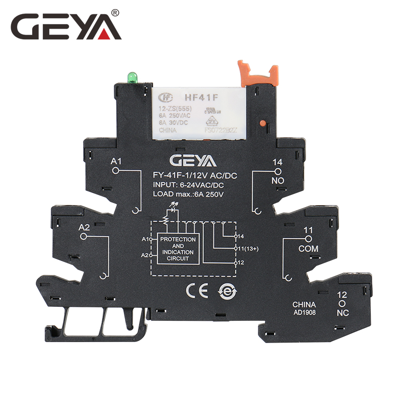 GEYA Slim Relay Module Base with Hongfa Relay 12VDC AC or 24VDC AC OR 230VAC Relay