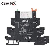 GEYA тонкий релейный модуль база с Hongfa реле 12VDC/AC или 24VDC/AC или 230VAC реле гнездо 6,2 мм толщина