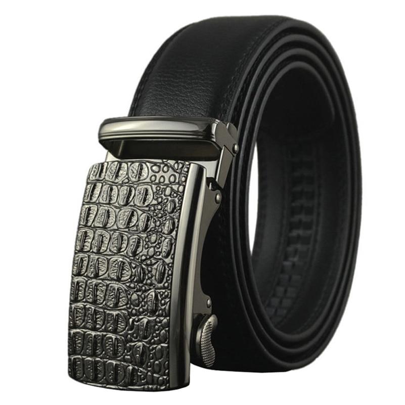 Mens Big Genuine Leather Belt with Automatic Buckle 2017 Fashion Business Cowskin Straps 130 140 150cm Long Plus Size Cintos