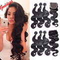 Indian Virgin Hair Body Wave With Closure 3Bundles With Closure Body Wave Bundles Body Wave Hair Closure Human Hair With Closure
