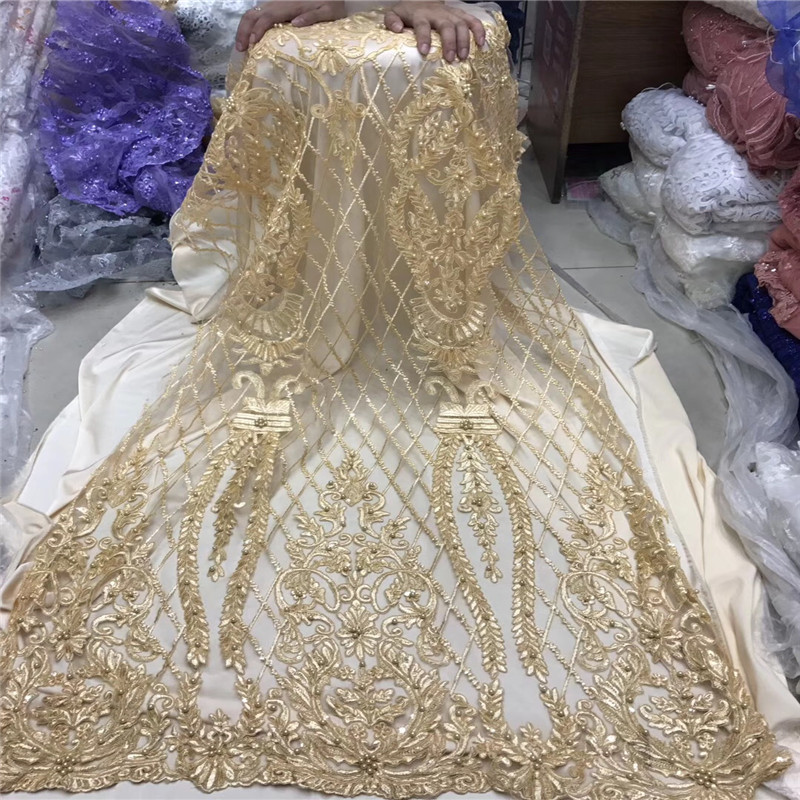 African Beaded Lace Fabric 2018 High Quality Lace Material Gold French Lace Fabric Nigerian Tulle Mesh