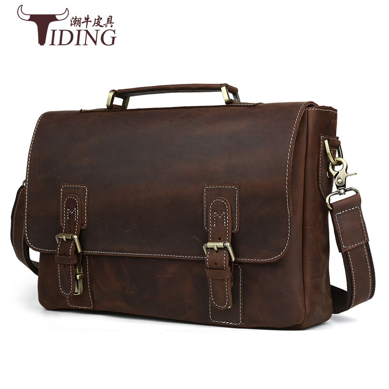 2017 new Vintage Crazy Horse Briefcases Men Genuine Leather Messenger Bags 14 Laptop Handbags Cow Leather Business Bag Russian ylang vintage crazy horse cowhide briefcases men messenger bags 15 laptop handbags genuine leather briefcase business bag