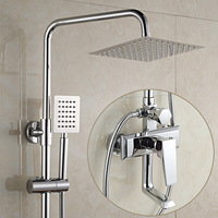 Bathroom Shower Set Brass Chrome Wall Mounted Shower Faucet 8 Shower Head Water Hot And Cold