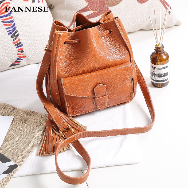Fashion pail bag Tassel bucket Single shoulder Bucket Bag Single shoulder spansTassel Shoulder Bag Casual Messenger Bag