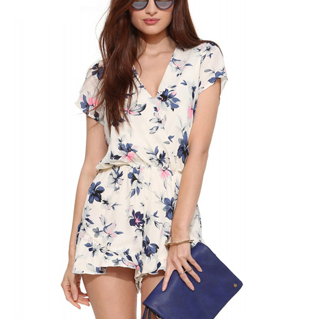 7a0e6fba6bf3 2017 Hot Sale Boho White Floral Print Elegant Jumpsuit Romper Summer Style  Sexy V Neck Women Playsuit Beach Chiffon Overalls