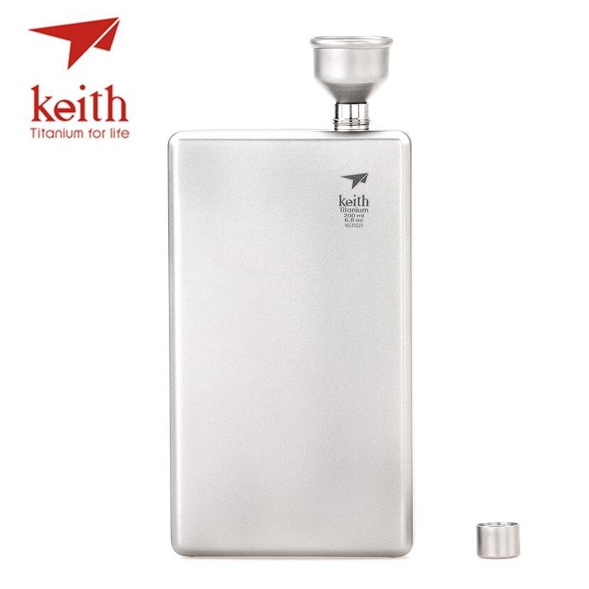 Keith 200 ml grand flacon de hanche en titane Portable en plein air Whisky Pot boisson articles sport vin flacon Portable en plein air
