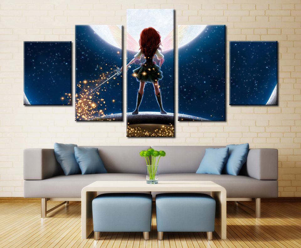 2017 Magic Girl Cartoon Wall Canvas Painting Printed Pictures Home Decoration Unframed