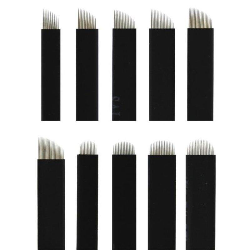 Tattoo Needle Nano Black 0.16mm Flex 12U 14U 16U 18U 21U Microblading Needles Permanent Makeup Eyebrow Lamina For Embroidery-in Tattoo Needles from Beauty & Health