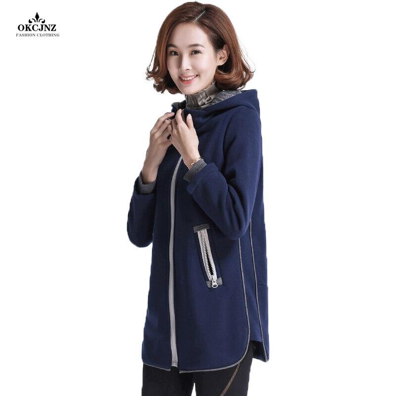 2019 nouveauté sweat à capuche pour femme Sweatshirts couleur unie à manches longues hauts à capuche grande taille pulls décontractés Zip-up Hoodies OK28W
