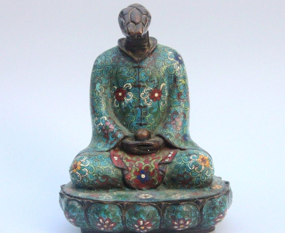 Bronze Cuivre Cloisonné Émail Serpent Statue De Zodiaque Chinois Gardien Animal