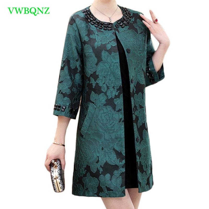 Middle-aged Women Thin Windbreaker Coat Spring Autumn New Single-breasted   Trench   Coats Noble Womens Plus size Overcoats 5XL A432