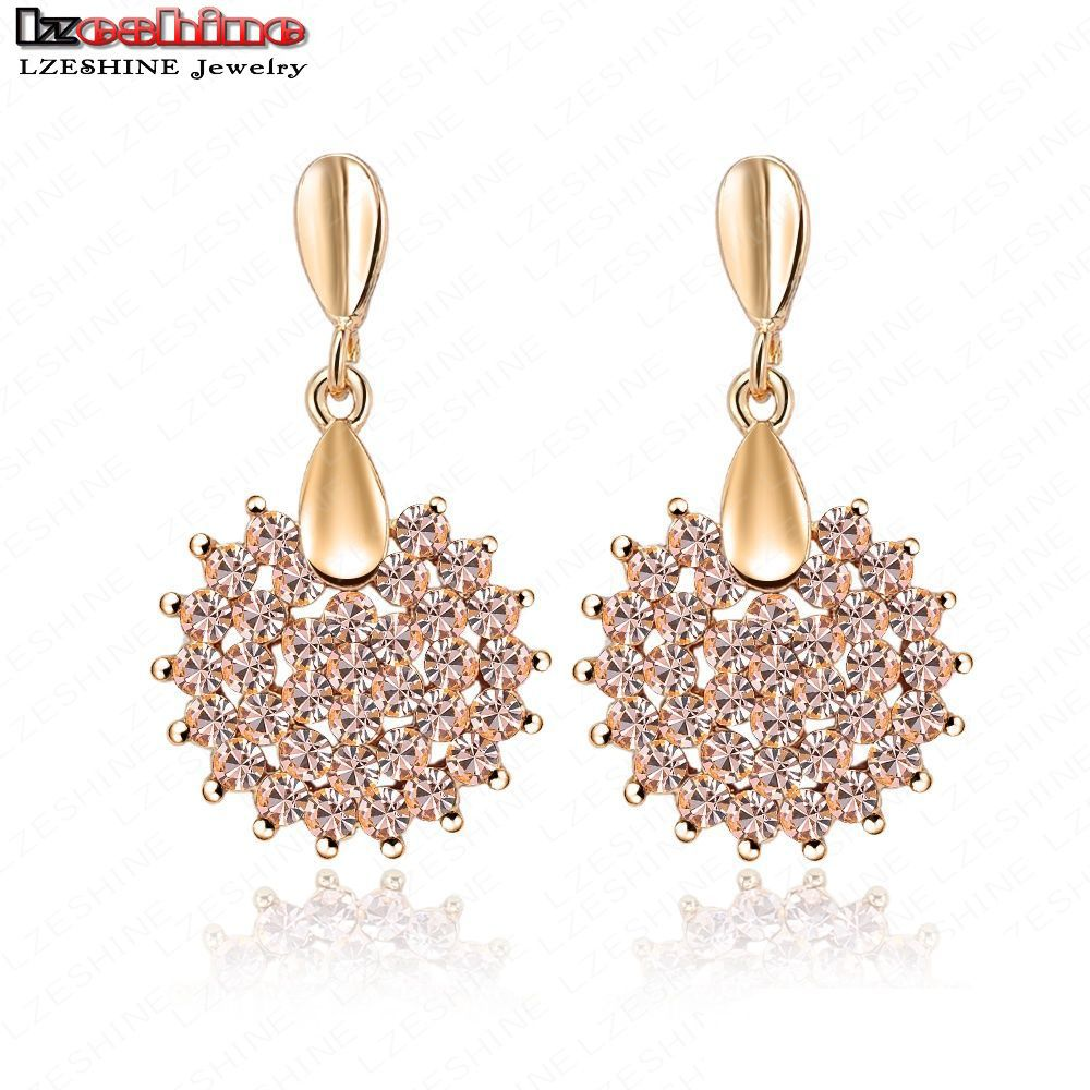 Lzeshine Fashion New Prom Party Earrings Pink Austrian Crystal Swa Element  Earring Studs Fashion Jewelry 16*28mm Er0071c