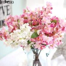 Yo cho diy grinalda de natal vívida flor artificial flor de cerejeira sakura pétalas decoração de casamento artesanal festa decorativa