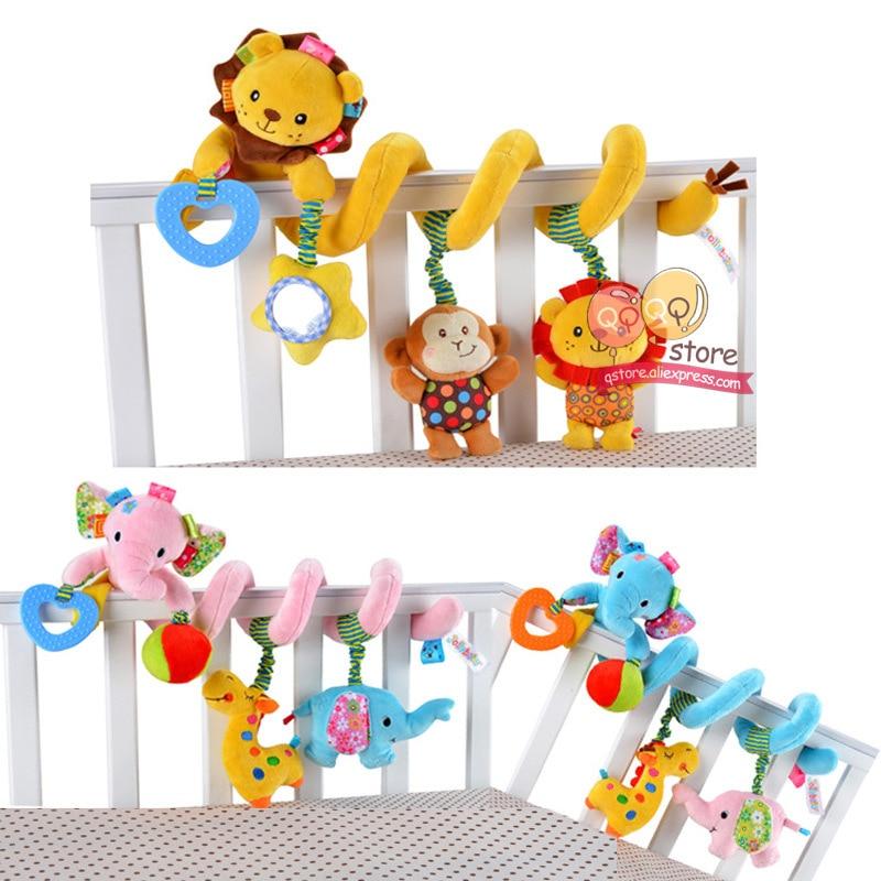 Baby Plush Rattle Crib Spiral Hanging Mobile Infant Stroller Bed Animal Toys Gift For Newborn Children 0-12 Months Happy Monkey #4