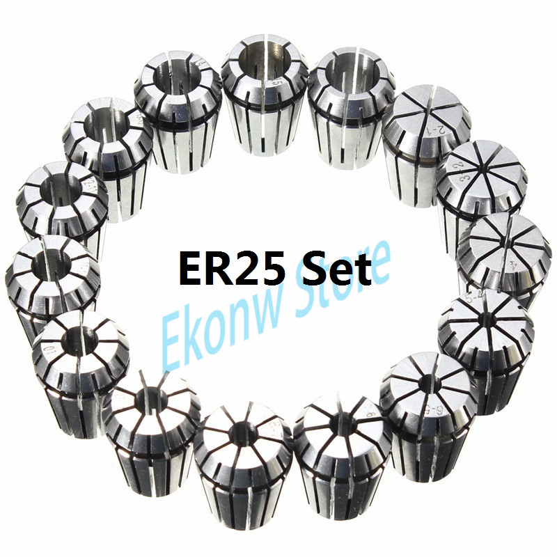 18pcs/set ER25 Chuck Collet Precision Spring Chuck Collet Set 1-16mm For CNC Milling Lathe Tool Engraving Machine useful 15pcs set 2mm 16mm er25 precision spring collet for lathe chuck for cnc milling engraving machine best price