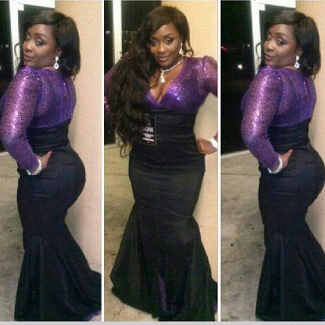 Super Plus Size African Nigerian Purple Sequined Prom Dresses Long ...