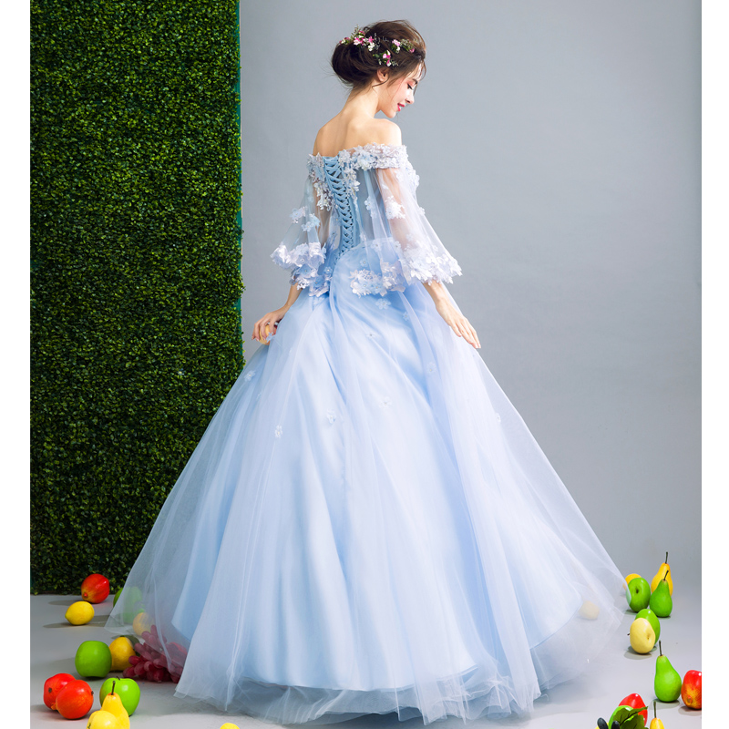 Walk Beside You Blue Sweet 16 Dresses Ball Gowns Quinceanera Dresses 3/4 Sleeves Floral Lace Applique Dress for Masquerade - 2