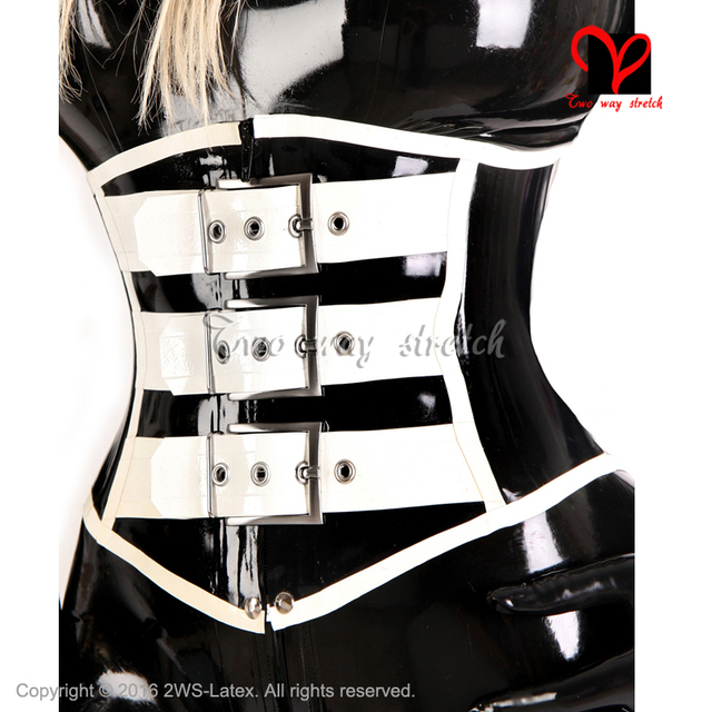7a879b4473 Latex Corsets with buckles Lacing At Back Rubber Bustiers Gummi Corsage top  underbust Cincher Belt Basque Waspie girdle CY-017