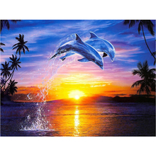DIY diamond painting sea scenery dolphins embroidery Marine life couple Mosaic landscape decor