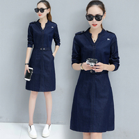 Spring and autumn new Slim was thin package hip denim dress and long sections women's casual long sleeved A line dress TB18163
