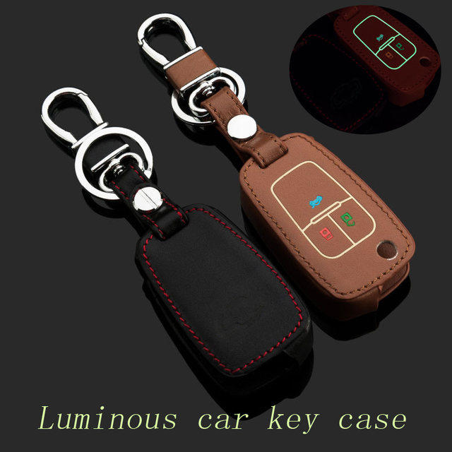 Genuine Leather Car Key Case Fob Cover Fits for Chevrolet Cruze 3 Button Folding Remote Alloy Key Rings Car Keychain Accessories