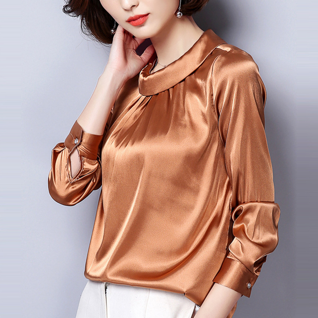451e8aa48 2018 New Spring Formal Women Folding Turn-down Collar Long Sleeve Blouse  Casual Plus Size Female Work Clothes Satin Shirt Tops