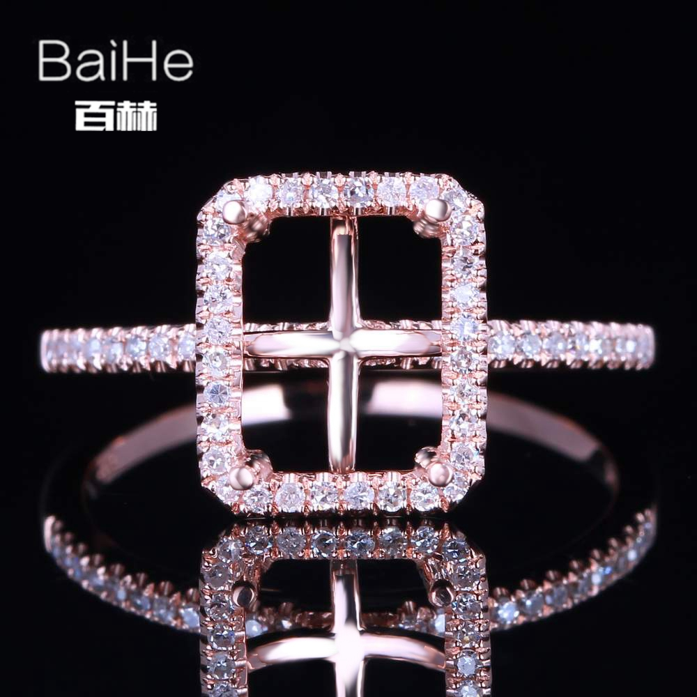 BAIHE Solid 14K Rose Gold(AU585) Certified Emerald cut Wedding Women Office/career Fine Jewelry Elegant unique Semi Mount Ring  BAIHE Solid 14K Rose Gold(AU585) Certified Emerald cut Wedding Women Office/career Fine Jewelry Elegant unique Semi Mount Ring