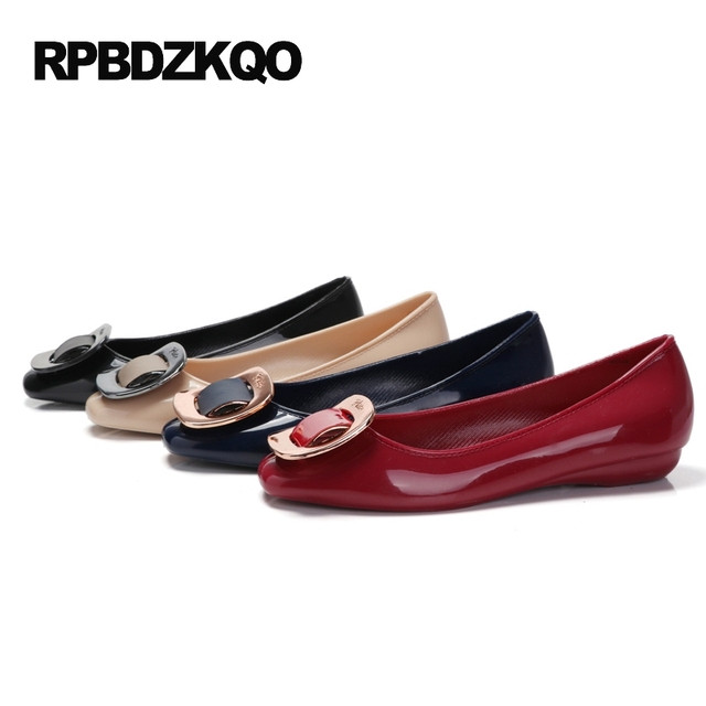 Red Wine Jelly Sandals Closed Toed Women Comfortable Summer Flat Square Toe Buckle Single Shoes Apricot Slip On Classic Pull