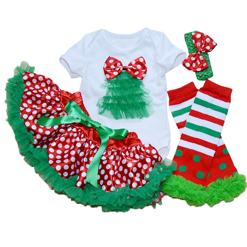 Christmas Style Girl Children Clothes Sets Short Sleeve Santa Claus Romper + Dot Dress + Legging + Headband christmas tree sets inflatable cartoon customized advertising giant christmas inflatable santa claus for christmas outdoor decoration