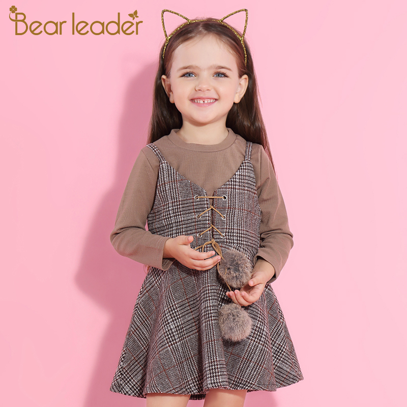 Bear Leader Girl Sets 2017 New Autumn Children Dress Sets Fur Ball Long Sleeve Pure Color T-Shirt+Plaid Dress 2pcs For 3-7 Years 4pcs new for ball uff bes m18mg noc80b s04g