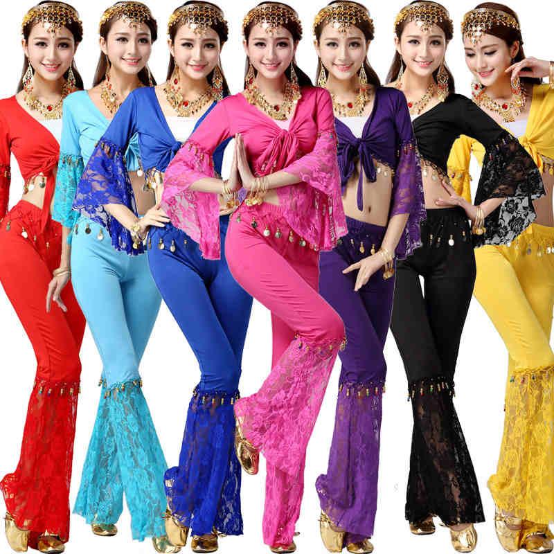 2gab. Vēderdejas kostīms Bolivudas mežģīņu Ēģiptes kostīms Indijas kleita vēderdeju kleita sievietes vēderdejas kostīmu komplekti cilšu bikses