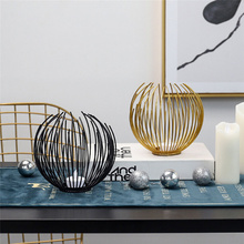 Nordic Style Wrought Iron Geometric Candle Holders Home Decoration Metal Crafts 3d Round Candlestick Wall Holder