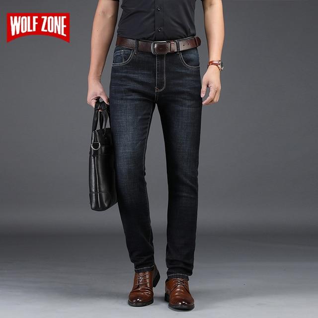 Calças de Brim Dos Homens de Inverno Roupas de outono 2018 Homens Magros Denim Jeans de Marca Calças Jeans Preto Clássico Da Moda Calças Casuais Negócio