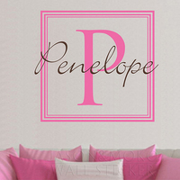 Baby Girl Name Wall Decal Nursery Monogram Squares Vinyl Wall Art Sticker Wallpaper For Home Decorating