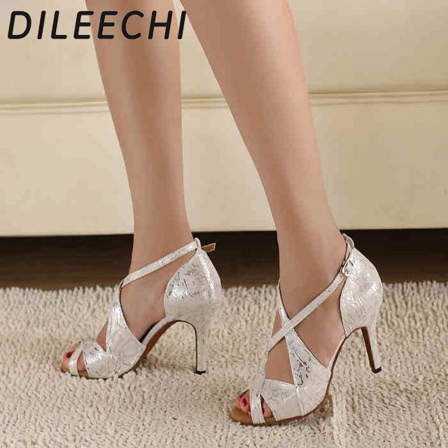 DILEECHI brand Women's White Satin Leopard Latin dance shoes wholesale Spot Salsa Party Square dance shoes High heels 8.5cm