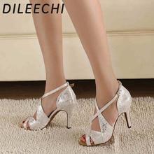 DILEECHI brand Womens White Satin Leopard Latin dance shoes wholesale Spot Salsa Party Square dance shoes High heels 8.5cm