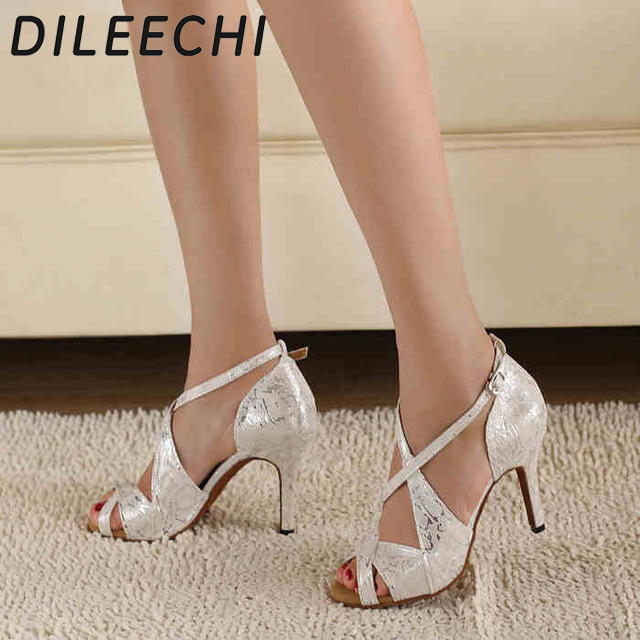 DILEECHI Latin-Dance-Shoes Salsa Square Satin-Leopard Party High-Heels White Women's title=