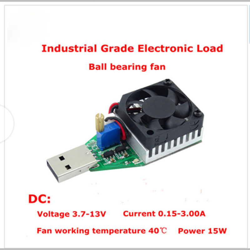 Industrial& Cilvil Grade Electronic Load resistor USB Interface Discharge battery test capacity with fan adjustable current 15w